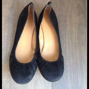 J CREW BLACK SUEDE BALLET FLATS WOMANS 10